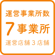 運営事業所 7事業所 運営店舗3店舗